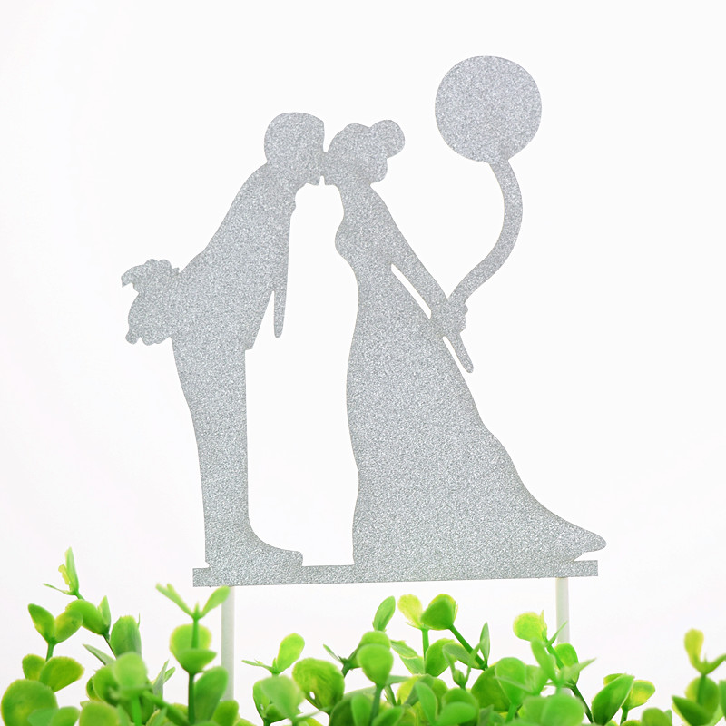 Cake Toppers Flags Mr Mrs Just Married Kids Happy Birthday Glittler Cupcake Topper Wedding Bride Groom Party Baking DIY