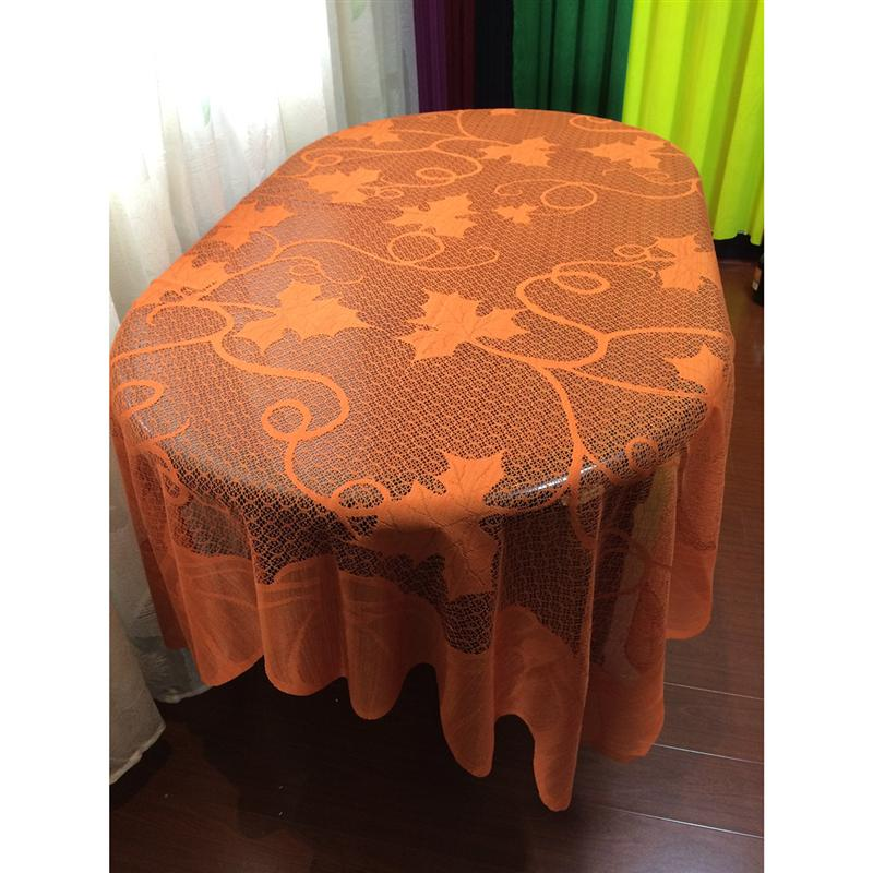 Tablecloth Pumpkin Pattern Autumn Lace Maple Leaves High Quality Durable Table Cover for Halloween Thanksgiving Day Party