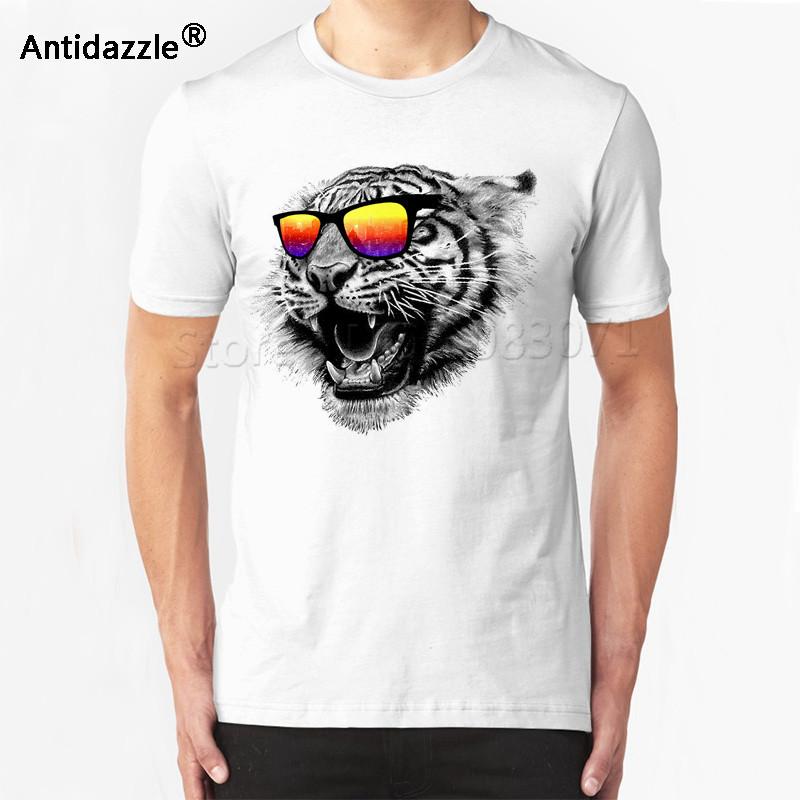 Antidazzle лето популярные азиатские размер рев забавный тигр глава с солнцезащитные очки Мода мужская с коротким рукавом футболки топы рубашки мужской