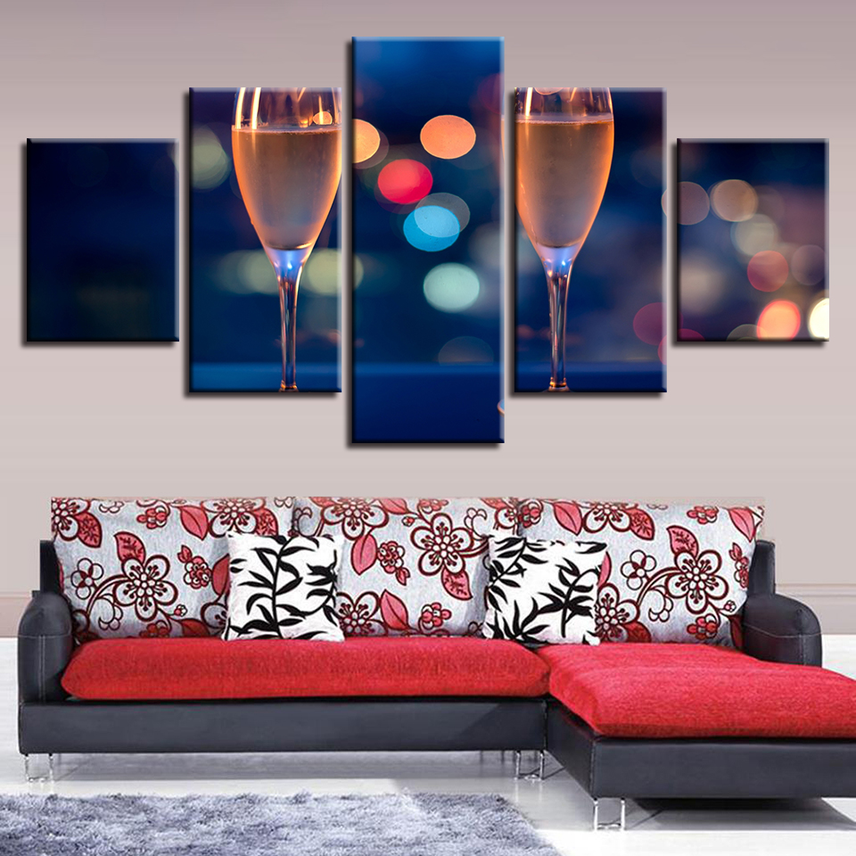 Canvas HD Prints Pictures Home Decor Wall Art Framework Champagne Glass Painting Modular Living Room Celebrate Posters