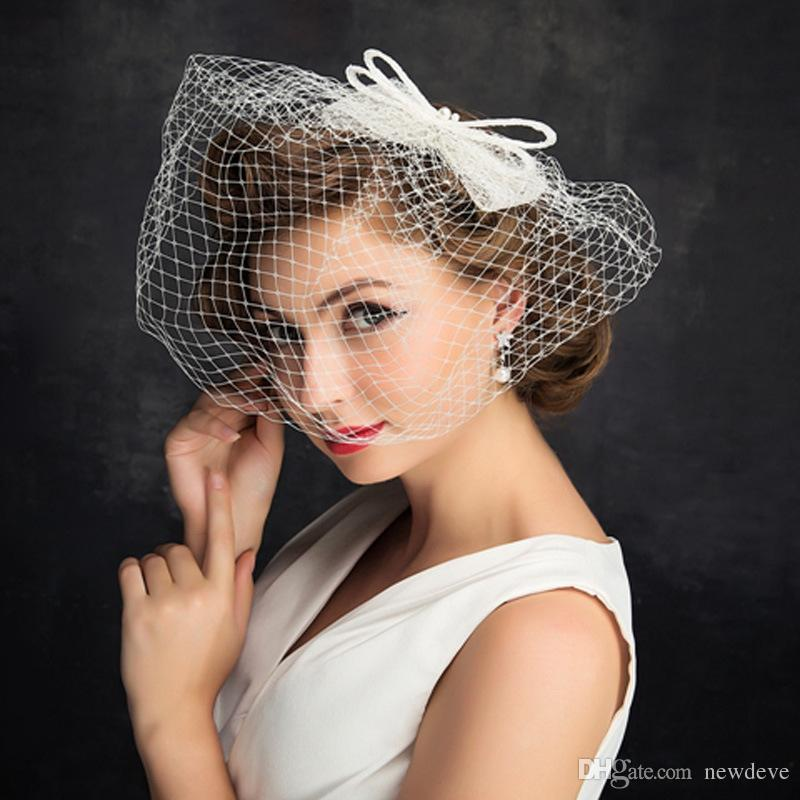 Simple Design 15 cm Cheap Headpieces For Brides Bow Face Covered Fascinators Fashion Bridal Accessories For Photoshoot