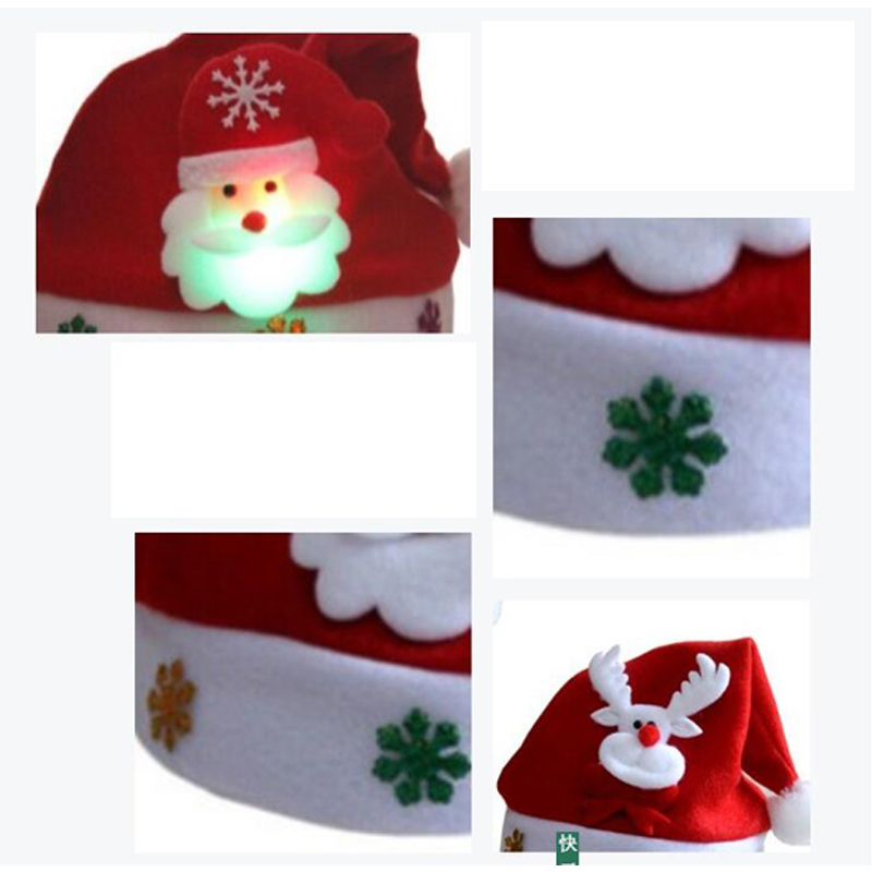 Christmas Hats Santa Cap Kids And Adult Size LEDLight UpLuminous Christmas Hat Decoration New Year Xmas Gifts Party Supplies (3)