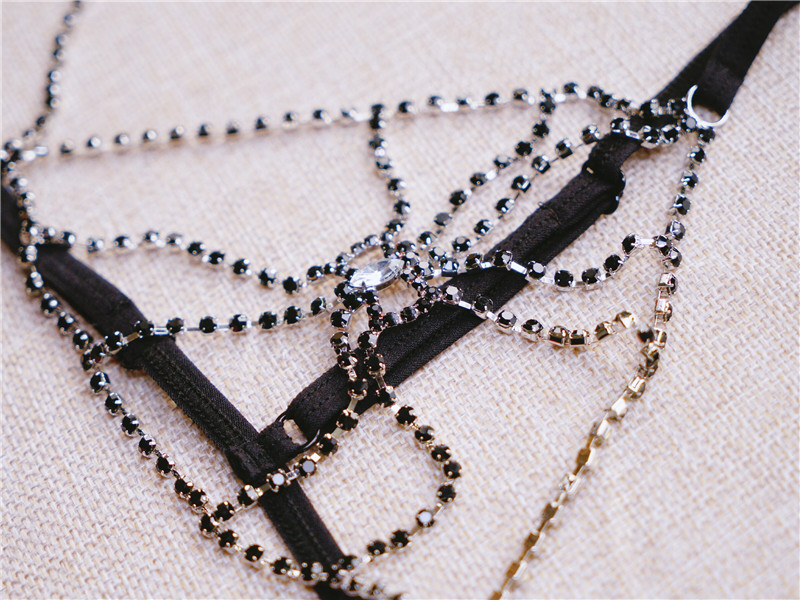 Sexy Summer Temptation Brassiere Metal Drilling Jewelry Flowers Bikini Women Chain Necklace Bra Open Crotch Briefs Underwear Set