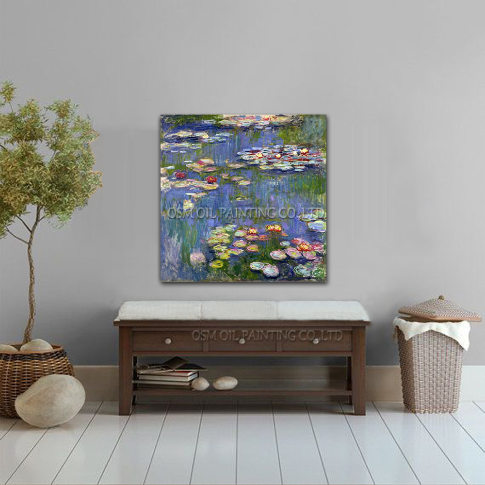 Claude Monet Water Lilies Oil Painting On Canvas Reproduction Impression Lily Flower Oil Painting For Decoration