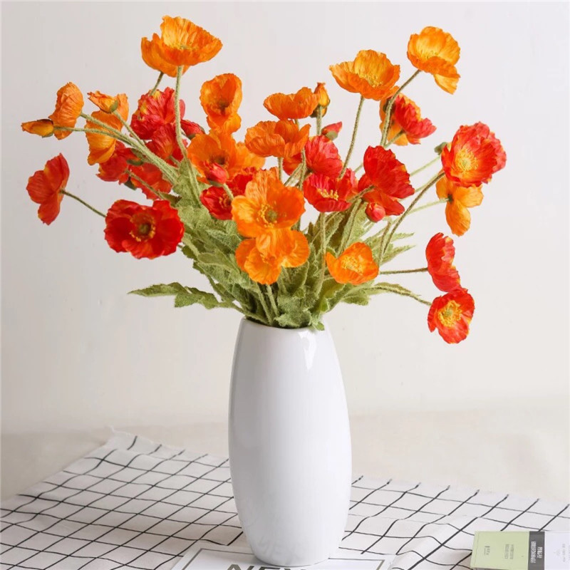 59cm Silk Fake Flower Home Furniture Simulation Vivid Beatiful Real Tounch Poppy Flowers For Wedding Party Decorative C18111501