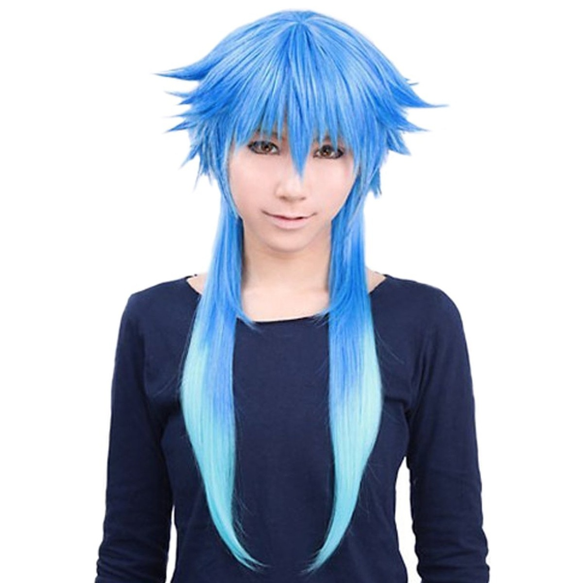 Unisex Two Tone Straight Cosplay Party Costume Wigs Long Gradient Blue