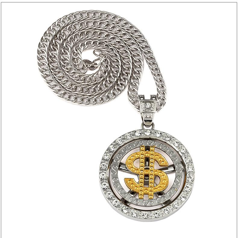 Fashion Men Coin Dollar Necklaces Luxury Design Money Seeker Necklaces High Quality Full Diamond Pendant Necklace Hiop Hop Accessories