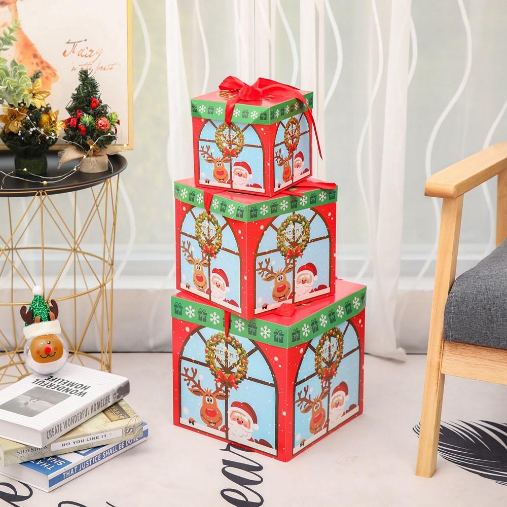 Christmas Eve Geschenk Box Weihnachten Geschenkverpackungen Red Ribbon Deckel Weihnachtsgeschenk Box Dekoration Dropshipping # 20
