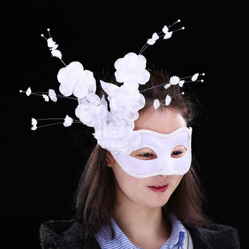 2018 New Women Girls Sexy White Flower Eye Mask Venice Masquerade Masks Halloween Dance Party Dress Decoration