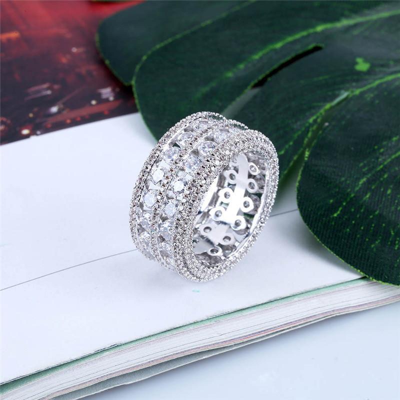 Marca Designer Homens Anéis Luxo Bling 18 K Banhado A Ouro Cubic Zirconia Anel Moda Hip Hop Anéis Jóias Finas
