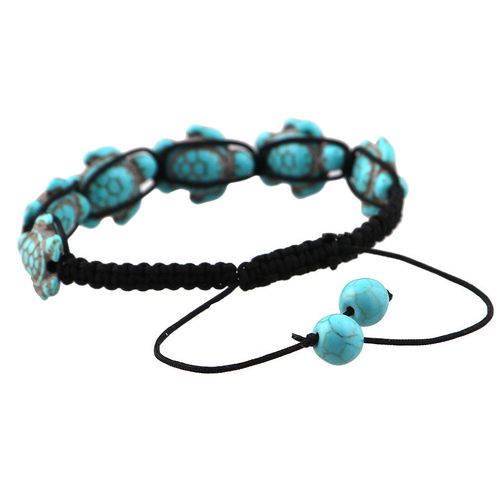 Bohème bracelet turquoise tortue réglable bracelet corde tressée bijoux I