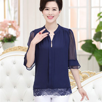 new-fashion-middle-age-women-Butterfly-Half-sleeve-V-Neck-summer-lace-button-Chiffon-blouse-female.jpg_200x200