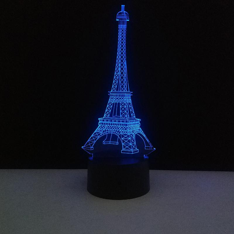 3D Lampes de table tactile coloré lampe LED USB France Paris Tour Eiffel Mood Lights Nuit Décoration Mariage Chambre Maison de vacances Décor