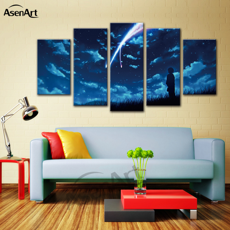 Cartoon Spray Painting 5 Panel Canvas Art Japan Your Name Anime Movie Modern Poster Print Framed Wall Picture Home Decoration Y18102209