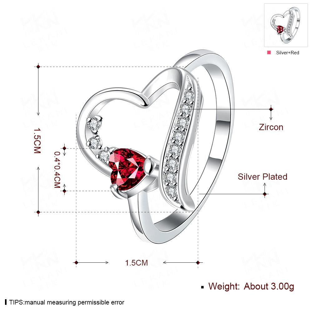 Women Girl red Heart 925 Silver plated crystal Zircon Ring wedding Ring Christmas Gift