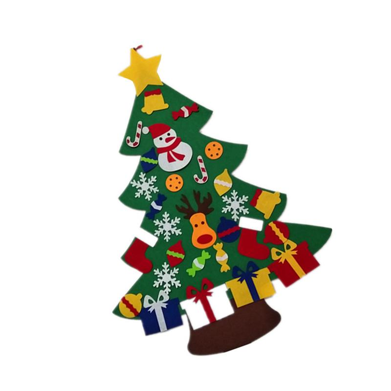 Magic Felt Christmas Tree DIY Funny Puzzle Ornaments Wall Decor with Hanging Rope Decoration Toy for Christmas Festival Party