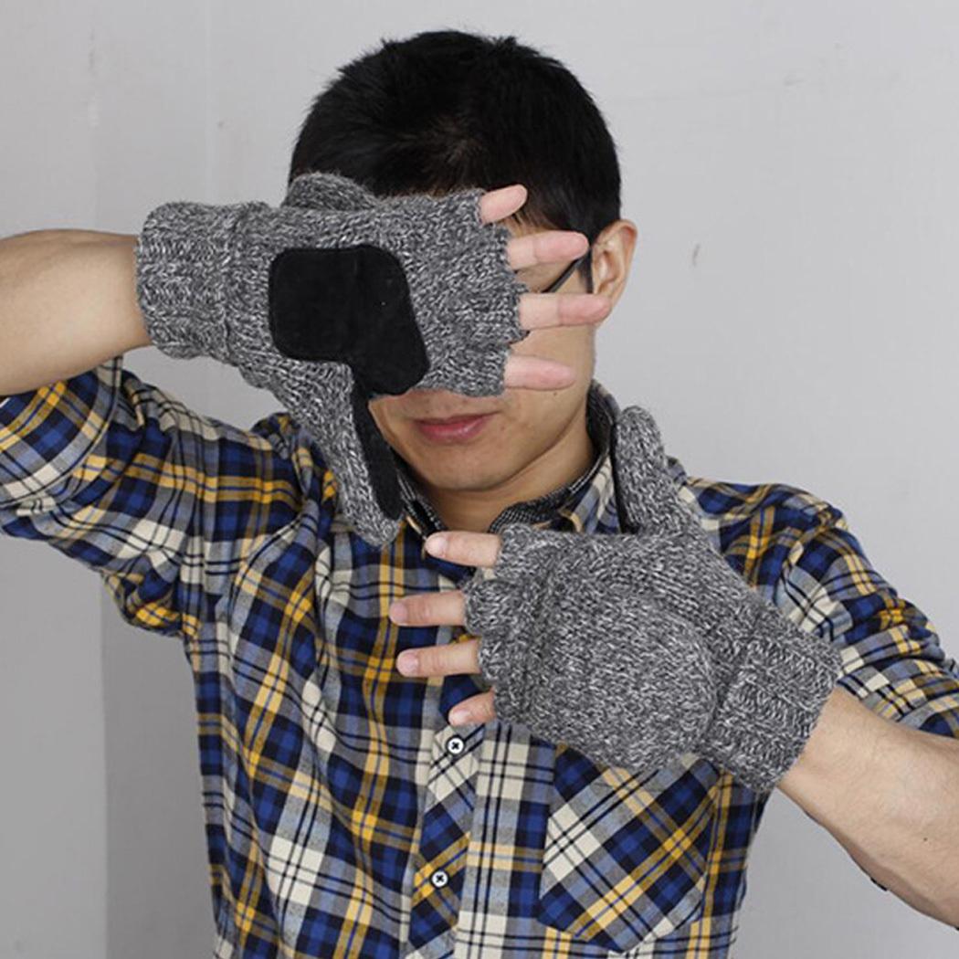 Unisex Women Men Knitted Flip Gloves Winter Wool Gloves Mitten Warm Thick Male Fingerless Wool Finger Half Gloves Hight Quality D18110806