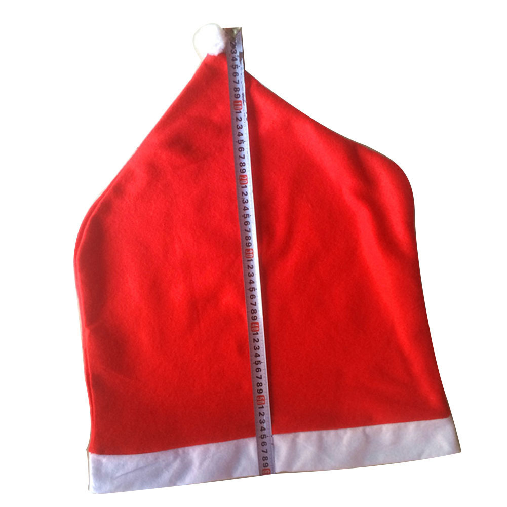 2018 Santa Claus Cap Christmas Dinner Table Party Red Hat Chair Back Covers Xmas Decoration Home Decor Y18102609