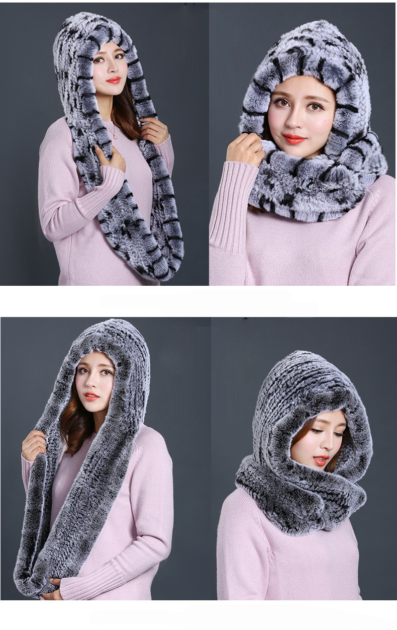 Hat Women 2017 New Knitted Real Rex Rabbit Fur Hat Hooded Scarf Winter Warm Natural Fur Hat With Neck Scarves (12)