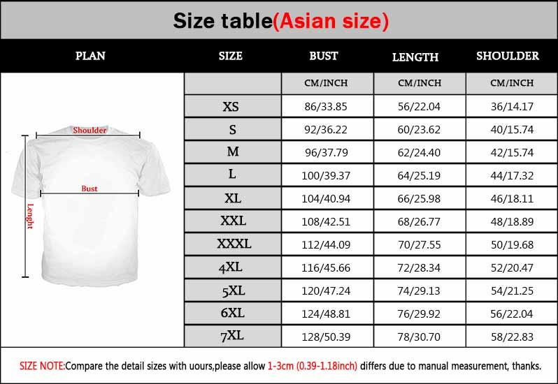 new t shirts size chart