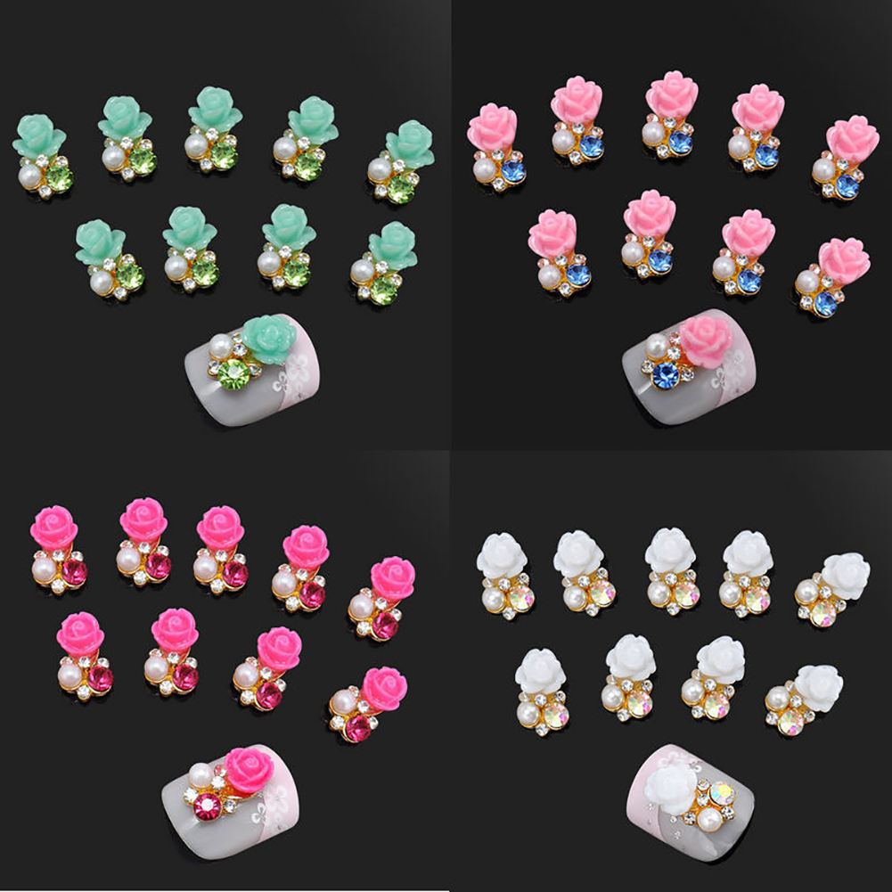 10 Pcs Faux Pearl Rhinestone Flower Nail Art Slices Stickers DIY Decorations