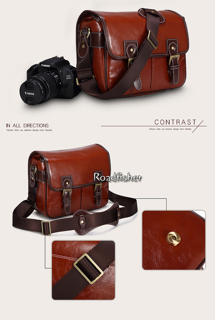 Camera leather shoulder bag 115-8