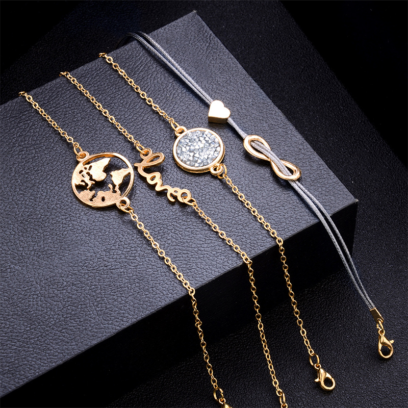 / Set Punk Turtle Map Heart Letter Love Crystal Beads Chain Multilayer Pendant Gold Bracelet Set Charm Girl Jewelry Gift