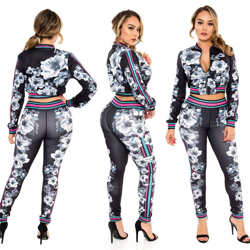 Women Floral Tracksuit Pullover Autumn Jacket + Pants Sweatsuit Flowers Printed Long Sleeve Crop Jacket Coat Leggings Bodycon Outfit Clothes