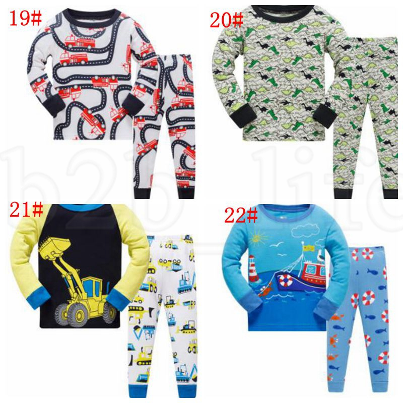 22 design Boys Girls Pajamas Kids Long Sleeve Cotton Set Baby pajamas sets boys Cartoon Flamingo Dinosaur Sleepwear Suit 3-8Y