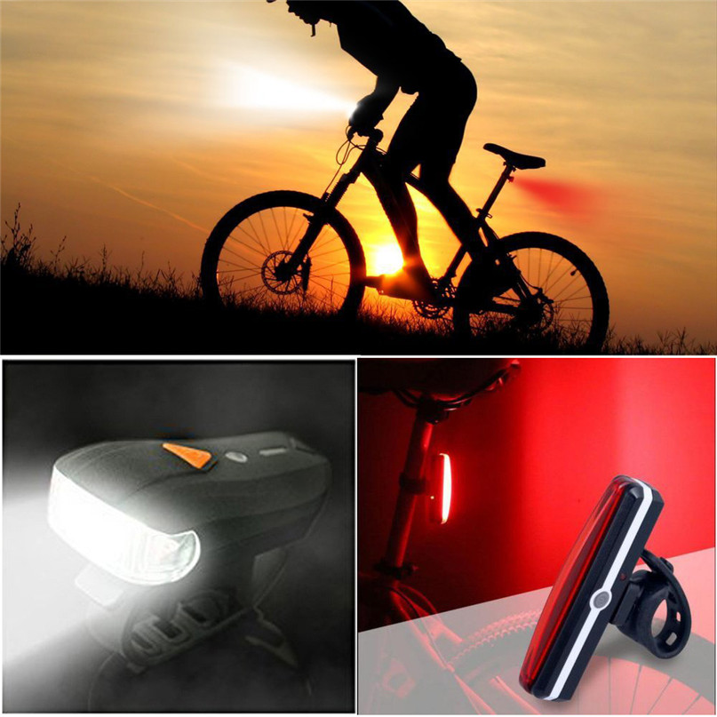 USB Rechargeable LED Bike Bicycle Cycling Front Rear Tail Light Headlight Lamp for Strobe Warning lamp night riding safety #2A30 (2)