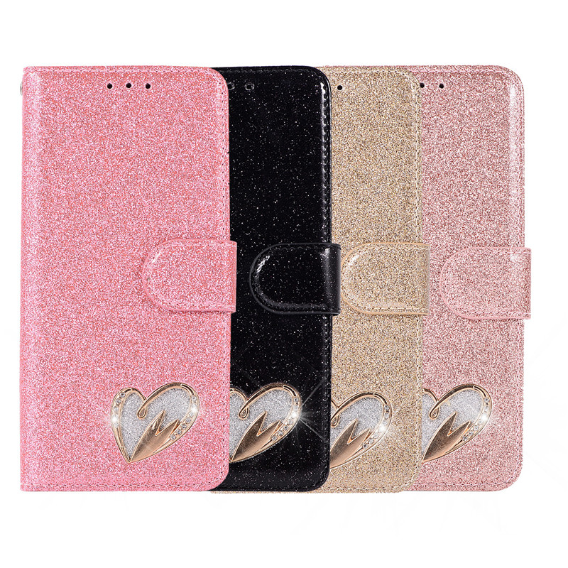 Case For Huawei P20 lite cover glitter Star diamond love flip wallet leather case For Huawei Nova 3e case silicon TPU back cover30