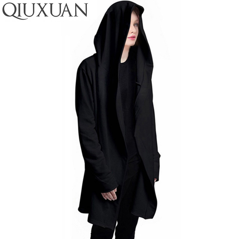 Fashion Mens Hooded Cardigan Hip-hop Long Coat Hoodie Cape Cloak Loose Jacket Sz