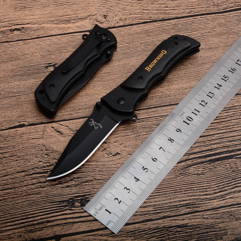 Browning 339 Siyah Katlanır Cep bıçak 440 Blade Ahşap Kolu açık dişli survival Küçük bıçaklar kesme bıçağı en christams hediye P582F