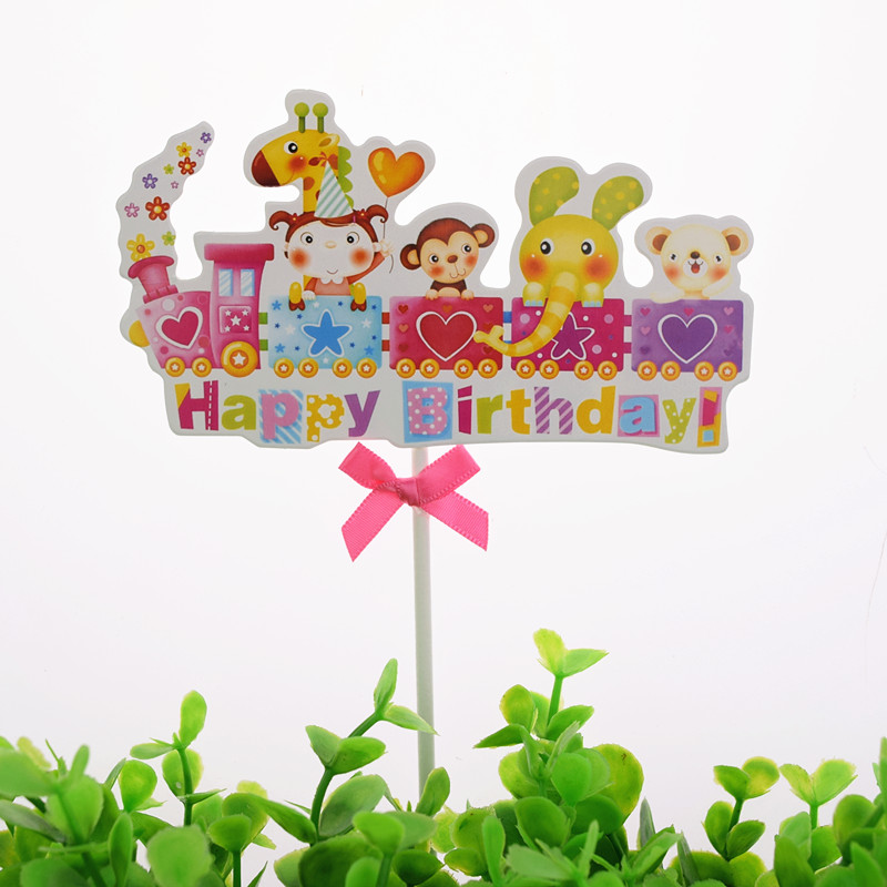 Rainbow Cake Toppers Flags Mr Mrs Kids Happy Birthday Train Cupcake Topper Wedding Bride Baby Shower Party Baking DIY