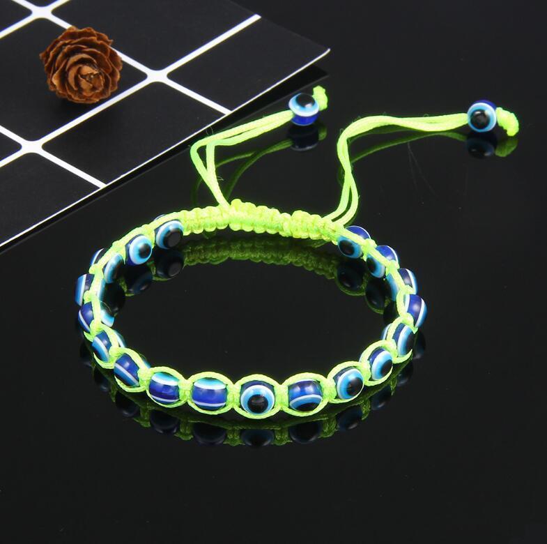 Moda tejida a mano del mal de ojo Hamsa mano encanto religioso cuentas azules pulsera afortunada mejor partido pulsera turca para mujeres KKA2191