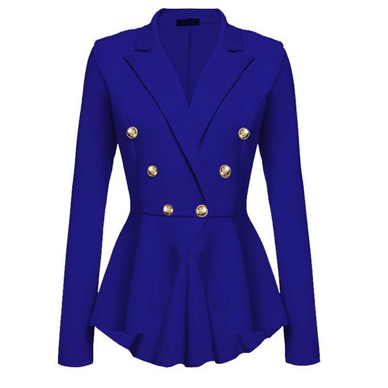 2017 Women Double Breasted Gold Button Military Blazer Ladies Coat Formal Jacket L18101303