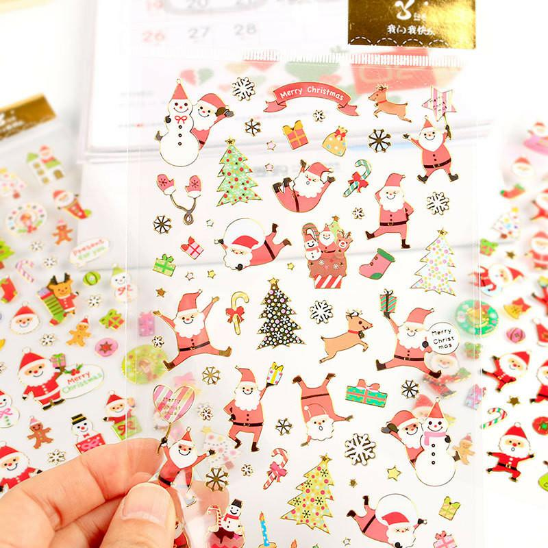 Fashion Christmas Cartoon Sticker Santa Claus Wall Stickers Christmas Tree Snowman gift Paster Kindergarten Reward for kids Children PVC