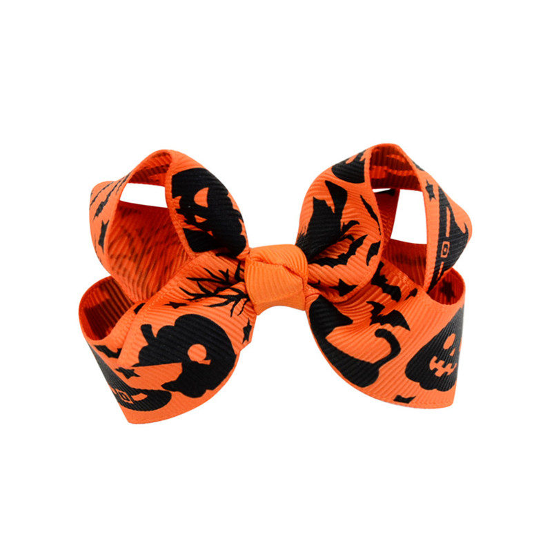 Baby Halloween Grosgrain Ribbon Bows with Clip Cartoon Kids Ghost Pumpkin Baby Girl Bowknot Hair Clips Hair Pin Accessories 3 inch DHL
