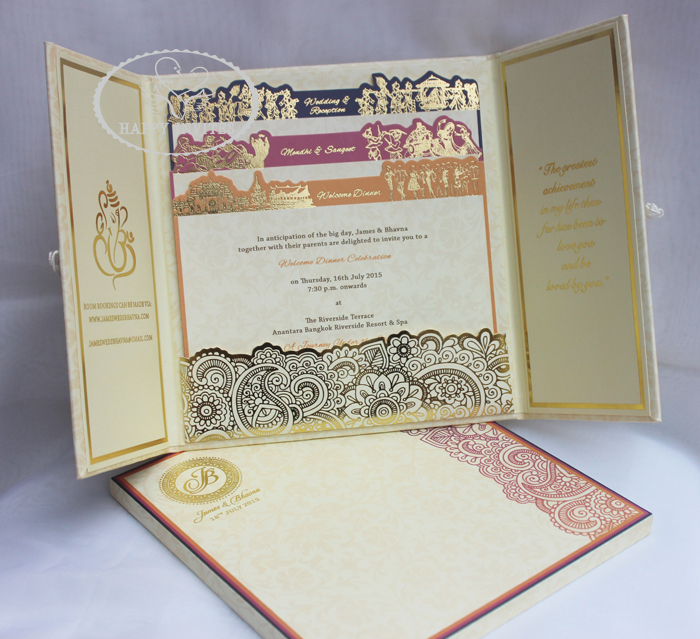 HI1091 - 18 Personalized Hard Cover Gate Fold Wedding Card with Gold Foil