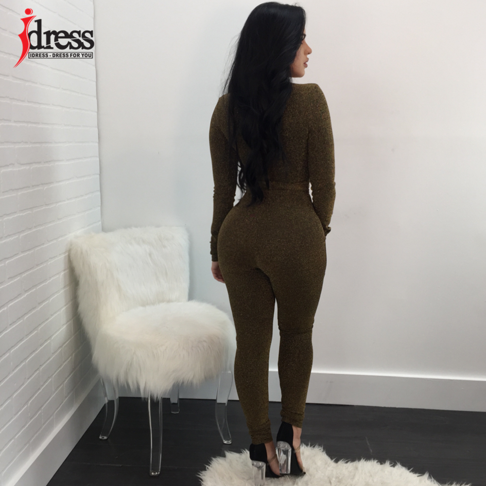 IDress 2018 New Spring Autumn Women\`s Sexy Long Sleeve Black Gold Illusion V Neck Sashes Bodysuit Elegant Rompers Women Jumpsuit (12)