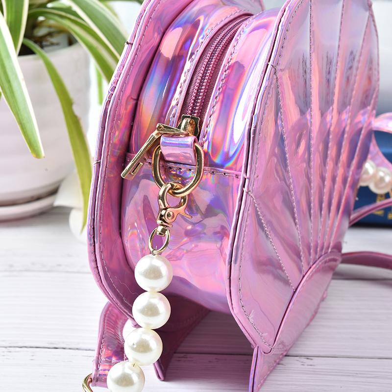HOT Fun personalized fashion laser shell shape chain shoulder bag purse girls ladies crossbody handbag mini messenger bag flap
