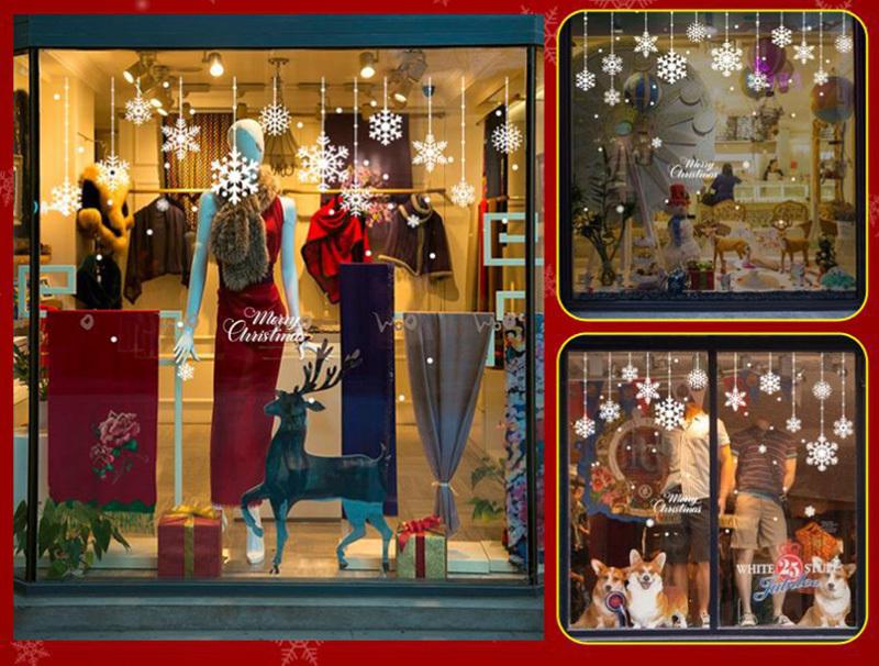 Happy New Year Christmas Decorations for Home Snowflake Glass Sticker Merry Christmas Decor Shop Window Sticker Navidad Natal (6)