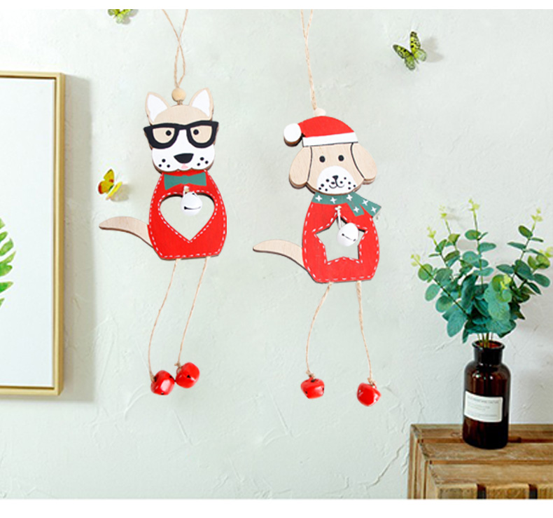 11 2019 Merry Christmas Wooden dog Ornaments Room Wall Hanging Accessories For Home Table Desktop Stand Decor Santa Bells Dog Gifts