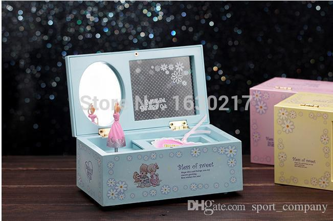 Lovely Rotating Dance Girl Music Box Creative Jewelry Box for children Christmas Present Music Boxes With Mirror Birthday Christmas Gift