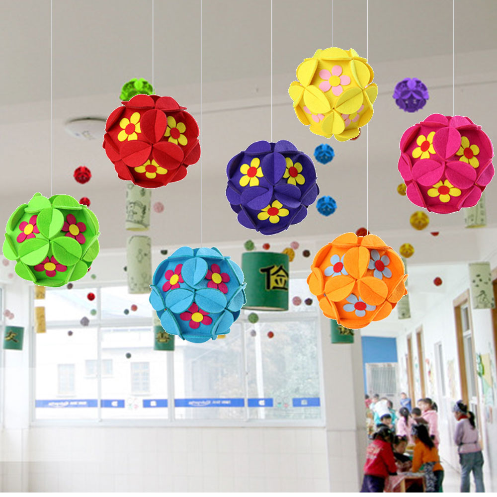 New DIY Wall Hanging Set DIY Felt Material Cloth Star Hydrangea Style Handmade Cloth Clock Home Hanging Decoration