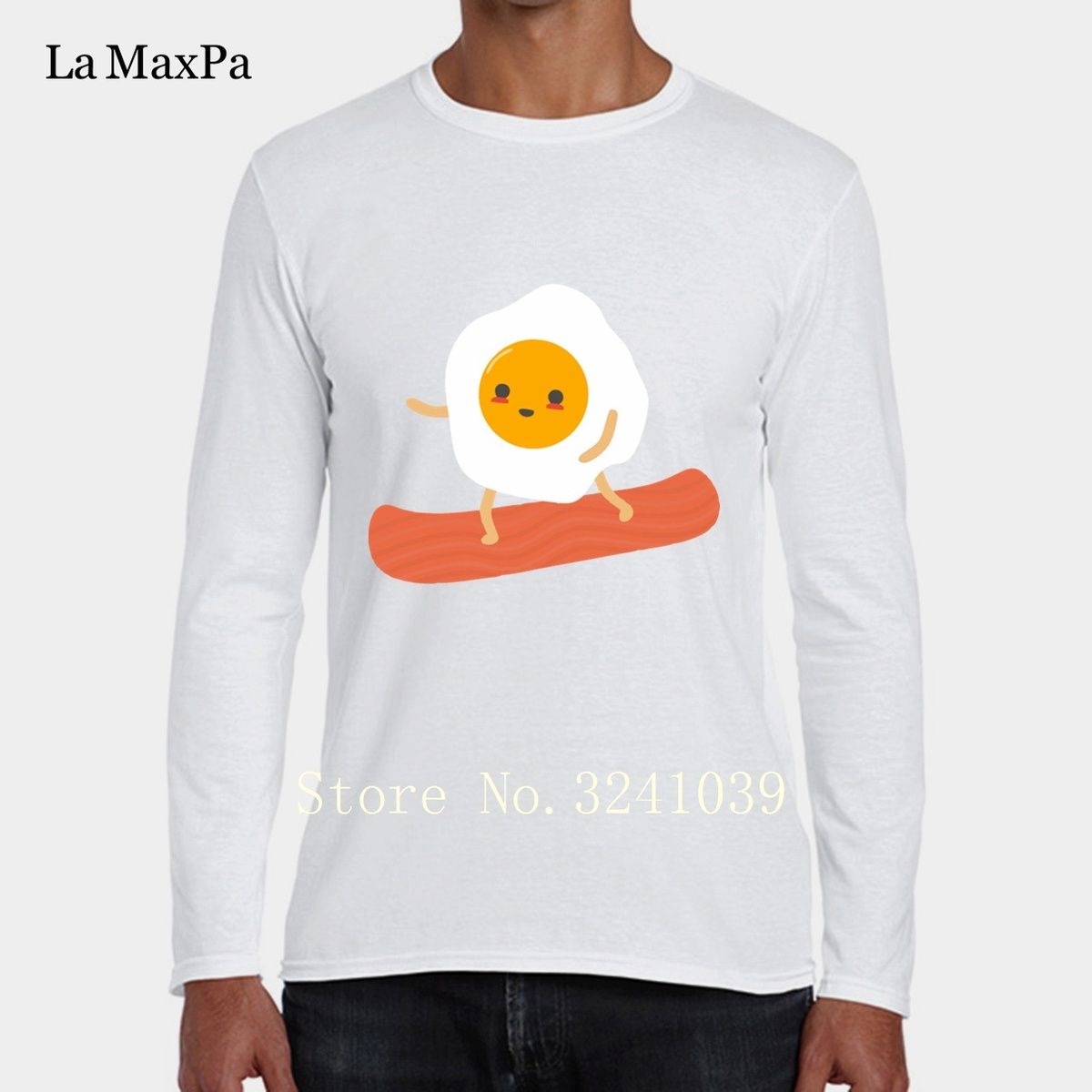 La Maxpa Knitted Fitness Famous Tee Shirt Mens Funny Eggs And Bacon Popular Men T-Shirt 2018 Big Sizes Gents T Shirts Hot Sale