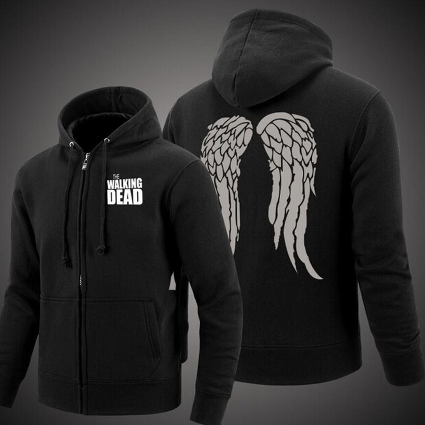 TWD Daryl Dixon Hoodie Cosplay Fleece Sweatshirt Plus Velvet Hoody Coat Jacket