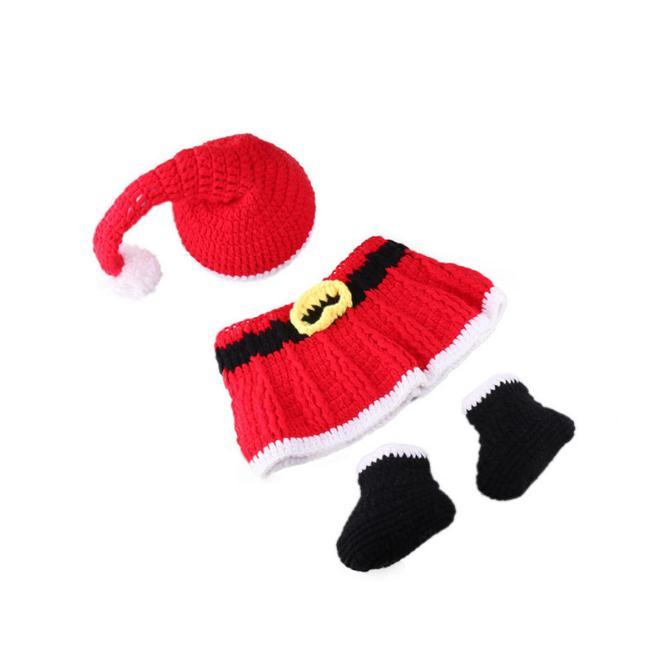 Детская фотография Реквизит Вязание длинного хвоста Рождество Hat Новорожденный Санта-Клаус Детские шапки Детские реквизит фото