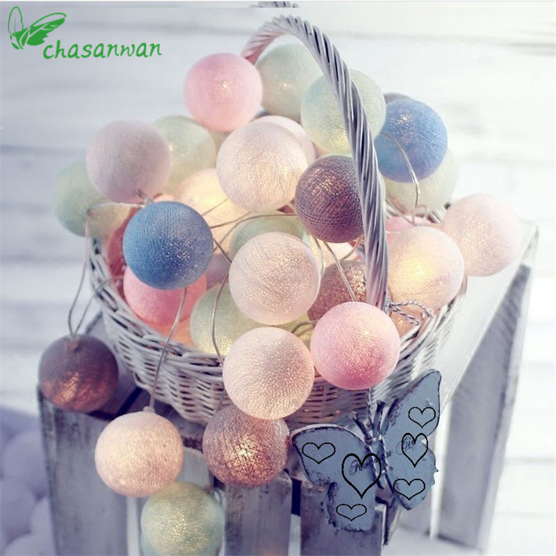 3m 20-LED Tiffany Cotton Ball String Light Christmas Led Decorations for Home New Year Decoration Colorful Decor Navidad Natal.L Y18102609