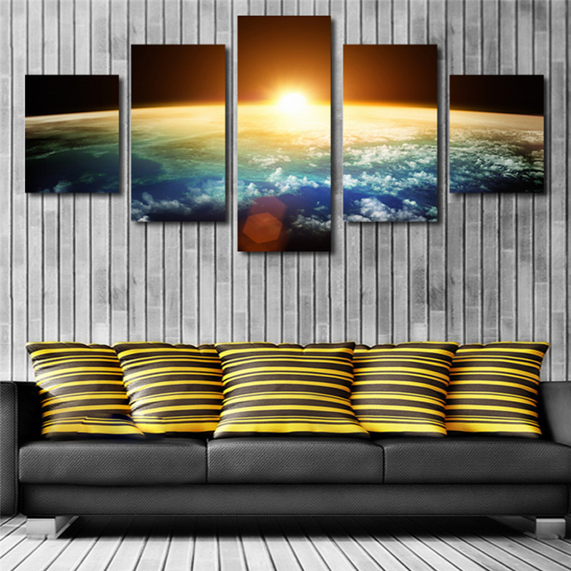 HD Printed Painting Large Poster 5 Panel Planet Landscape Canvas Print Art Home Decoration Wall Artwork Pictures For Living Room